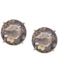 Anne Klein - Gray Silver-tone Faceted Grey Stone Stud Earrings - Lyst