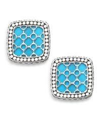 John Hardy | Blue Dot Batu Turquoise, 18K White Gold & Sterling Silver Square Stud Earrings | Lyst