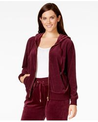 Calvin Klein | Purple Plus Size Ribbed-knit Velour Hoodie | Lyst