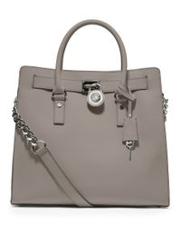 MICHAEL Michael Kors | Gray Hamilton Large Leather Tote Bag | Lyst