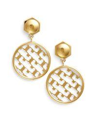 Tory Burch - Metallic 't' Open Drop Earrings - Shiny Gold - Lyst