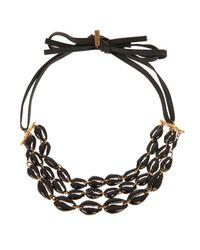 Isabel Marant - Black Leather And Shell Necklace - Lyst