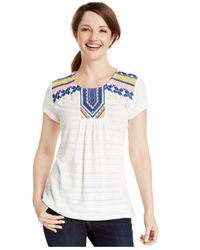 Style & Co. | Blue Aztec-print Peasant Top | Lyst