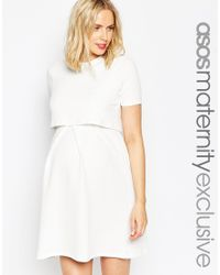 ASOS - White Maternity Nursing Textured Skater Dress With Double Layer - Lyst