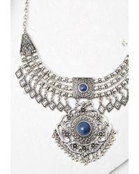 Forever 21 - Blue Medallion Bib Necklace - Lyst
