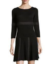 Max Studio - Gray Mixed Stripe Ribbed Knit Sweater Dress - Lyst