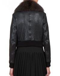 Givenchy - Black Fur-collar Leather Bomber Jacket - Lyst