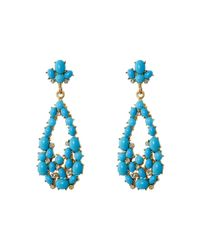 Kenneth Jay Lane | Blue Gold Tone Cabochon Teardrop Earrings | Lyst