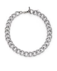 Michael Kors | Metallic Brilliance Statement Pavé Chain Toggle Necklace/silvertone | Lyst