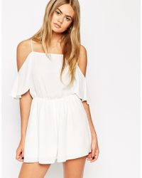 ASOS - White Playsuit With Cold Shoulder Ruffle - Lyst