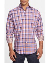 Thomas Dean - Purple Regular Fit Windowpane Plaid Sport Shirt for Men - Lyst