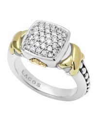 Lagos | Metallic Silver 18k Diamond Lux Pave Cushion Ring | Lyst