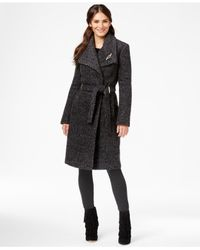 Ivanka Trump | Black Asymmetrical Trench Coat With Rhinestone Brooch | Lyst