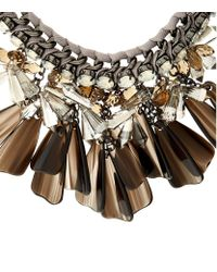 Weekend by Maxmara | Brown Canasta Stone Cluster Necklace | Lyst