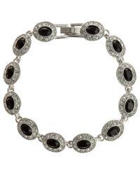 Carolee | Black Oval Stone Crystal Surround Bracelet | Lyst