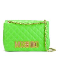 Moschino - Green Quilted Leather Cross-Body Bag - Lyst