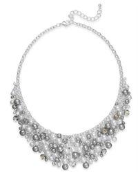 Charter Club - Metallic Silver-Tone Faux Pearl Shaky Bib Necklace - Lyst