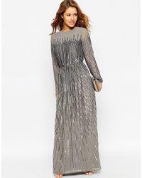 ASOS | Gray Petite Linear Sequin Long Sleeve Maxi Dress | Lyst