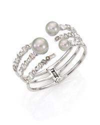 Alexis Bittar - Metallic Miss Havisham Faux Pearl Multi-row Cuff Bracelet - Lyst