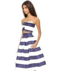 Nicholas - Blue Navy Stripe Silk Bonded Crop Top - Navy White Stripe - Lyst