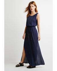 Forever 21 - Blue Contemporary Box-pleated Maxi Dress You've Been Added To The Waitlist - Lyst