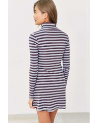 BDG | Blue Kaylyn Ribbed Striped Turtleneck Dress | Lyst