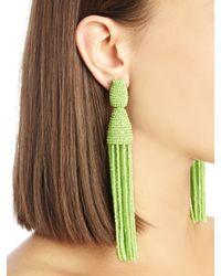Oscar de la Renta - Green Classic Long Tassel Earrings - Lyst
