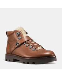 COACH - Brown Tompkins Hiker Leather Boots for Men - Lyst
