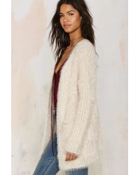 Nasty Gal - Natural Fuzz Worthy Ribbed Cardigan - Beige - Lyst