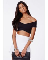 Missguided - Bardot Crossover Crop Top Black - Lyst