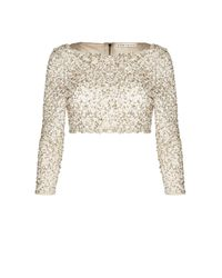 Alice + Olivia | Natural Lacey Embellished Tee | Lyst