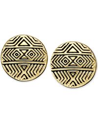 House of Harlow 1960 | Metallic Gold-tone Mosaic Stud Earrings | Lyst