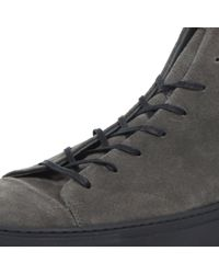 River Island - Gray Grey Nubuck Lace Up High Top Trainers for Men - Lyst