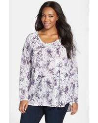 Sejour | Purple Print Scoop Neck High/low Tee | Lyst