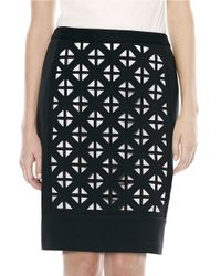 Laundry by Shelli Segal | Black Laser-cut Ponte Pencil Skirt | Lyst
