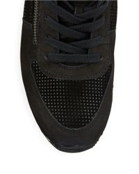 Paul Green - Black Cage Suede And Leather Sneakers - Lyst