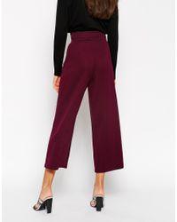 ASOS | Purple High Waist Textured Wide Trouser | Lyst