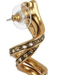 Oscar de la Renta - Metallic Spiral Gold-Plated Crystal Earrings - Lyst