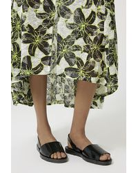 TOPSHOP - Black Hibiscus Outline Print Maxi Skirt - Lyst