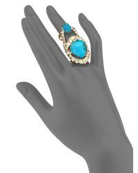 Alexis Bittar | Blue Miss Havisham Mosaic Chrysocolla & Crystal Geometric Cocktail Ring | Lyst