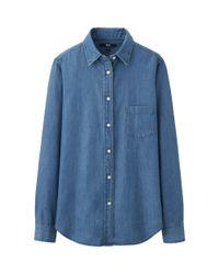 Uniqlo - Blue Denim Long Sleeve Shirt - Lyst
