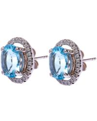 Kojis - Blue White Gold Aquamarine Halo Diamonds Stud Earrings - Lyst