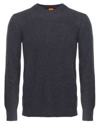BOSS Orange - Gray Wool Crew Neck Acesto Jumper for Men - Lyst