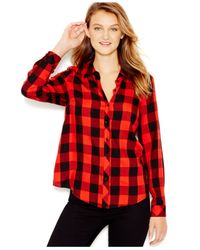 Kensie | Red Plaid Lace-contrast Shirt | Lyst