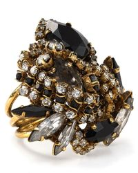 Aerin Erickson Beamon | Metallic Black Crystal Cluster Ring | Lyst