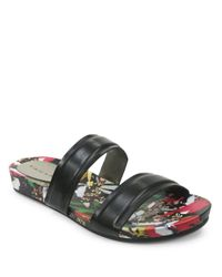 Tahari | Black Playful Leather Slides | Lyst
