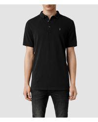 AllSaints - Black Buckingham Polo Shirt for Men - Lyst