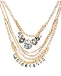 Kenneth Cole - Metallic New York Gold-Tone Crystal Multi Row Necklace - Lyst