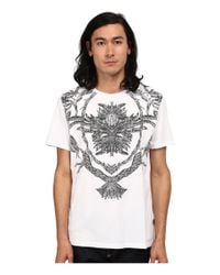 Just Cavalli | White Short Sleeve Feather/flame Graphic Slim Fit Tee for Men | Lyst