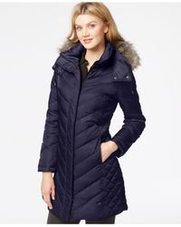 Kenneth Cole | Blue Faux-Fur-Trim Chevron Quilted Down Coat | Lyst